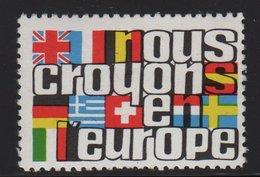 Vignette - Nous Croyons En L'Europe - Commemorative Labels