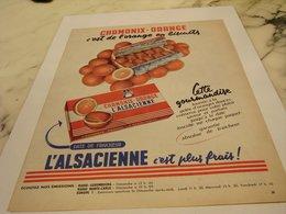 ANCIENNE PUBLICITE GATEAU CHAMONIX-ORANGE DE L ALSACIENNE 1958 - Affiches