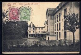 CPA ANCIENNE- BELGIQUE- SPA- HOTEL ANNETTE ET LUBIN- RARE CAD CONFERENCE DIPLOMATIQUE SPA 1920- 2 SCANS - Militärpost