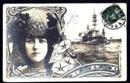 CPA PRECURSEUR TOULON AVEC TORPILLEUR + PORTRAI T DE LA COMMÉDIENNE D'ALENCON- DECOR  PUR SYLE 1900 - Toulon