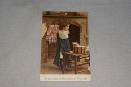 Publicité Biscuiterie Victoria Jeune Fille Lave Le Linge Et Mets Sécher Devant Cheminée + Timbre 1912 - Advertising
