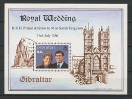 GIBRALTAR 1986 Bloc N° 9 ** Neuf MNH Superbe C 2.75 € Mariage Princier Prince Andrew Miss Sarah Ferguson - Gibraltar