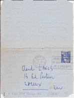FRANCE Lettre 1953 Essai Machine Concours 1953 SECAP PARIS XV Mettez Le Timbre An Haut Et à Droite ... Sur Gandon 15F - Marcofilie (Brieven)