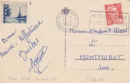 FRANCE Carte 1953 Essai Machine Concours 1953 SECAP PARIS XIV Mettez Le Timbre An Haut Et à Droite ... Sur Gandon 12F - Oblitérations Mécaniques (flammes)