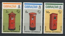GIBRALTAR 1974 N° 305/307 ** Neufs MNH Superbes C 2 € Postes Boîtes Aux Lettres UPU Union Postale - Gibraltar