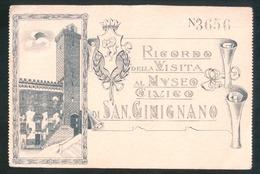 SAN GIMIGNANO - SIENA - INIZI 900 - RICORDO DELLA VISITA AL MUSEO CIVICO - CARTOLINA NUMERATA. - Siena