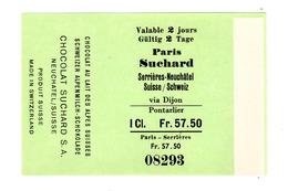 Enveloppe Pour Chocolat Suchard, Ticket De Train, Serrières - Paris, Jamais Vu (!) - Suchard