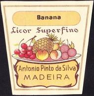 Old Liquor Label, Portugal - Licor Superfino BANANA / Funchal, Madeira - Size 6,5 X 6,5 Cm - Labels
