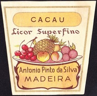 Old Liquor Label, Portugal - Licor Superfino CACAU / Funchal, Madeira - Size 6,5 X 6,5 Cm - Labels