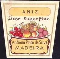 Old Liquor Label, Portugal - Licor Superfino ANIZ / Funchal, Madeira - Size 6,5 X 6,5 Cm - Labels