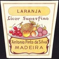 Old Liquor Label, Portugal - Licor Superfino LARANJA / Funchal, Madeira - Size 6,5 X 6,5 Cm - Labels