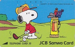 Télécarte Japon / 110-62567 - Chien SNOOPY Sport GOLF ** BANQUE SANWA BANK **- DOG Japan Peanuts Comics Phonecard - 1340 - BD