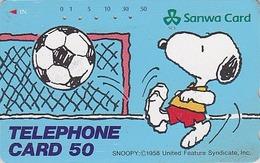 TC Japon / 110-144886 - BD Comics - CHIEN SNOOPY FOOTBALL ** BANQUE SANWA BANK ** - PEANUTS DOG Japan Phonecard - 1345 - BD