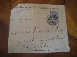 1897 MULHOUSE Reichspost 20 Pfennig Stamp On Partial Cut Frontal Front Cover GERMANY Empire - Alemania