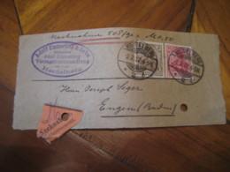1912 HEIDELBERG To Engen 2 Stamp + Nachnahme Label Cancel Frontal Front Cover GERMANY Empire Deutsches Reich - Alemania