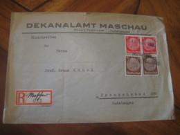 SUDETENGAU Maschau Bezirk Podersam To Franzensbad 4 Stamp On Cancel Registered Cover Deutsches Reich GERMANY - Germany