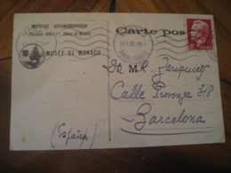 MONACO 1952 To Barcelona Spain Bibliotheque Musee Oceanographique Cancel Card MONACO - Monaco