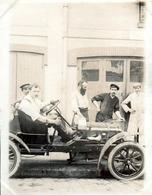 Tirage Photo Albuminé Original - Tacot & Ford Type N Ou T Importées Par Henri Depasse Dés 1907 - Mécaniciens & Pilotes - Automobiles