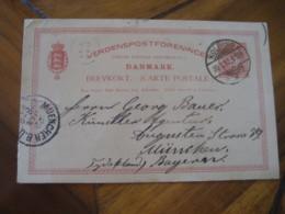 KOLDING 1892 To Munchen Germany Cancel Postal Stationery Card DENMARK - 1864-04 (Christian IX)