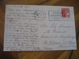 KOBENHAVN 1931 To Les Coteaux St. Cloud France Stamp + Poster Stamp Label Vignette On Ski Skiing Post Card DENMARK - 1913-47 (Christian X)
