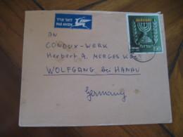 KFAR-ATA 1955 To Wolfgang Bei Hanau Germany Stamp Cancel Air Mail Cover ISRAEL - Cartas