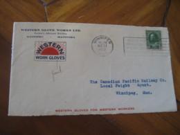 WINNIPEG 1922 Stamp On Cancel Western Work Gloves Frontal Front Cover CANADA - 1911-1935 Règne De George V