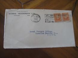 WINNIPEG 1927 2 Stamp On Cancel Morris Henderson LTD Frontal Front Cover CANADA - 1911-1935 Règne De George V