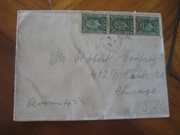 M. PORTAGE 1934 To Chicago USA 3 Stamp On Rorketo? ... Cancel Cover CANADA - 1911-1935 Règne De George V