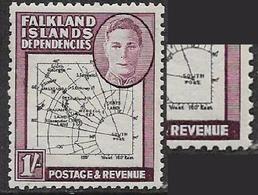 "Falkland Islands Dependencies, GVIR, 1946, 1/=, ""SOUTH POKE "" Variety MNH ** - Falkland Islands"