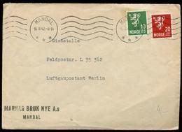 P0366 - DR Norwegen Propaganda Feldpost Briefumschlag : Gebraucht Mandal - L 35362 1942 ,Bedarfserhaltung. - Allemagne