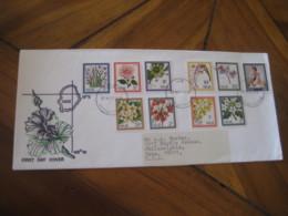 NIUE 1969 Flora Flowers + QEII 10 Stamp FDC Cancel Cover - Niue