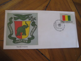 GUINEA New York USA United Nations 1980 Flag Series Elephant FDC Cancel Cover UN - Guinea (1958-...)