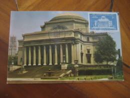 NEW YORK 1954 Columbia University Low Library Maxi Maximum Card USA - Cartoline Maximum
