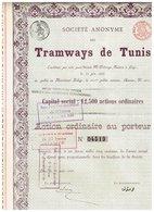 Titre Ancien - Société Anonyme Des Tramways De Tunis - Titre De 1888 - Chemin De Fer & Tramway