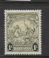 Barbados, GVIR, 1938,1/=, Olive-green, MH* - Barbados (...-1966)