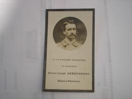 FAIRE PART DECES - URSMAR DENEUBOURG - MEDECIN VETERINAIRE A ATH - WANNEBECQ 1859 ( LESSINES ) - ATH 1908 - Avvisi Di Necrologio