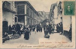 1904 BOLIVIA , TARJETA POSTAL  CIRCULADA , CALLE AYACUCHO - LA PAZ - Bolivia