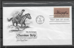 US Cachet FDC 1968 Cherokee Strip ,VF ! (FD-2) - American Indians