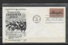 US Cachet FDC 1968 Cherokee Strip ,VF ! (FD-2) Lot-2 - American Indians