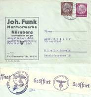 """Zensur Brief  """"Funk, Marmorwerke, Nürnberg"""" - Biel           1940 - Alemania"""
