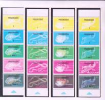 TONGA / NIUFOOU- 1989 -FISH OF THE DEEP PROGRESSIVE PROOF STRIPS OF 5 X 4 MNH - Tonga (1970-...)