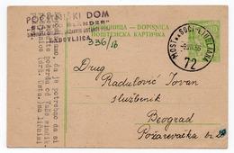 1955 YUGOSLAVIA, SLOVENIA, MOST NA SOCI-LJUBLJANA TPO 72, TO BELGRADE, USED STATIONERY CARD - Postal Stationery