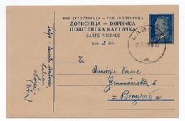 1950 YUGOSLAVIA, CROATIA, POREC, LABINCI TO BELGRADE, TITO, USED STATIONERY CARD - Postal Stationery
