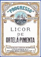 Old Liquor Label, Portugal - Licor De Ortelã-Pimenta / Progresso - Labels