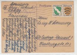 Brief Aus ALZEY 26.1.46 überklebte Hitler Ganzsache Nach Castrop-Rauxel - Zone Française