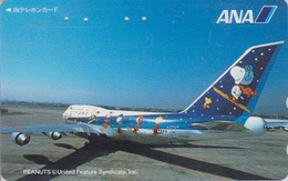 TC Japon / 110-011 - BD Comics - CHIEN SNOOPY * AVION ANA AIRLINES *  - PEANUTS DOG Japan Phonecard - Aviation 1374 - Flugzeuge