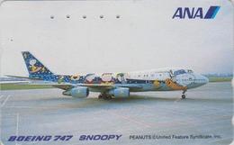 TC Japon / 110-016 - BD Comics - CHIEN SNOOPY * AVION ANA AIRLINES *  - PEANUTS DOG Japan Phonecard - Aviation 1376 - Flugzeuge