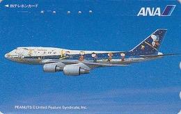 TC Japon / 110-011 - BD Comics - CHIEN SNOOPY * AVION ANA AIRLINES *  - PEANUTS DOG Japan Phonecard - Aviation 1377 - Avions