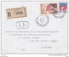 L4C394 France 1966 Devant LAR Auchy Les Hestin Pas De Calais  Pour Lille Aff 1,30 F  Joux 0,30f Blason Paris Obl Cad - Covers & Documents