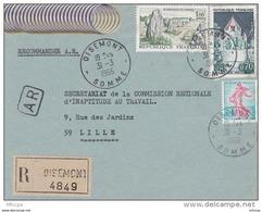 L4C395 France 1966 Devant LAR Oisemont Somme  Pour Lille Aff 1,00f Carnac 0,70f St Flour 0,20 Semeuse Obl Cad - Covers & Documents
